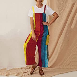 Summer Ladies Shorts Loose Casual Woman Jumpsuits Sleeveless Spaghetti-Strap Pockets Colorful Striped Jumpsuit