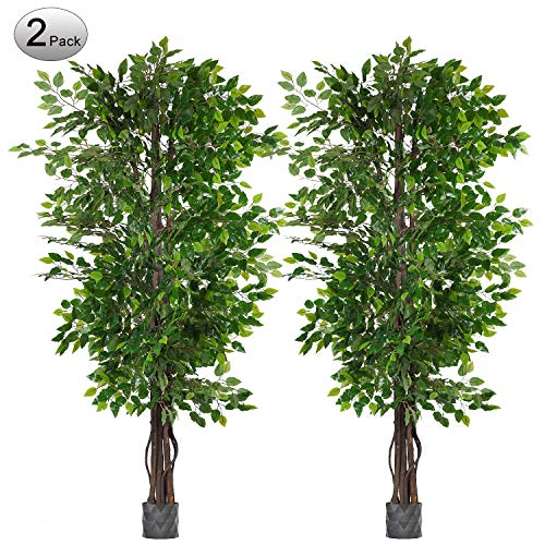 Woooow 2 Pack 6.5'/pc Ficus Silk Tree,Artificial Tree Ficus Tree with Green Leaves and Natural Trunk, Beautiful Fake Plant for Living Room Balcony Corner Decor,Indoor-Outdoor Use(Pot not Include)