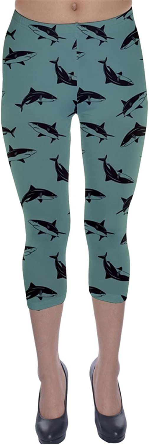 Turquoise Pattern Sharks Capri Leggings