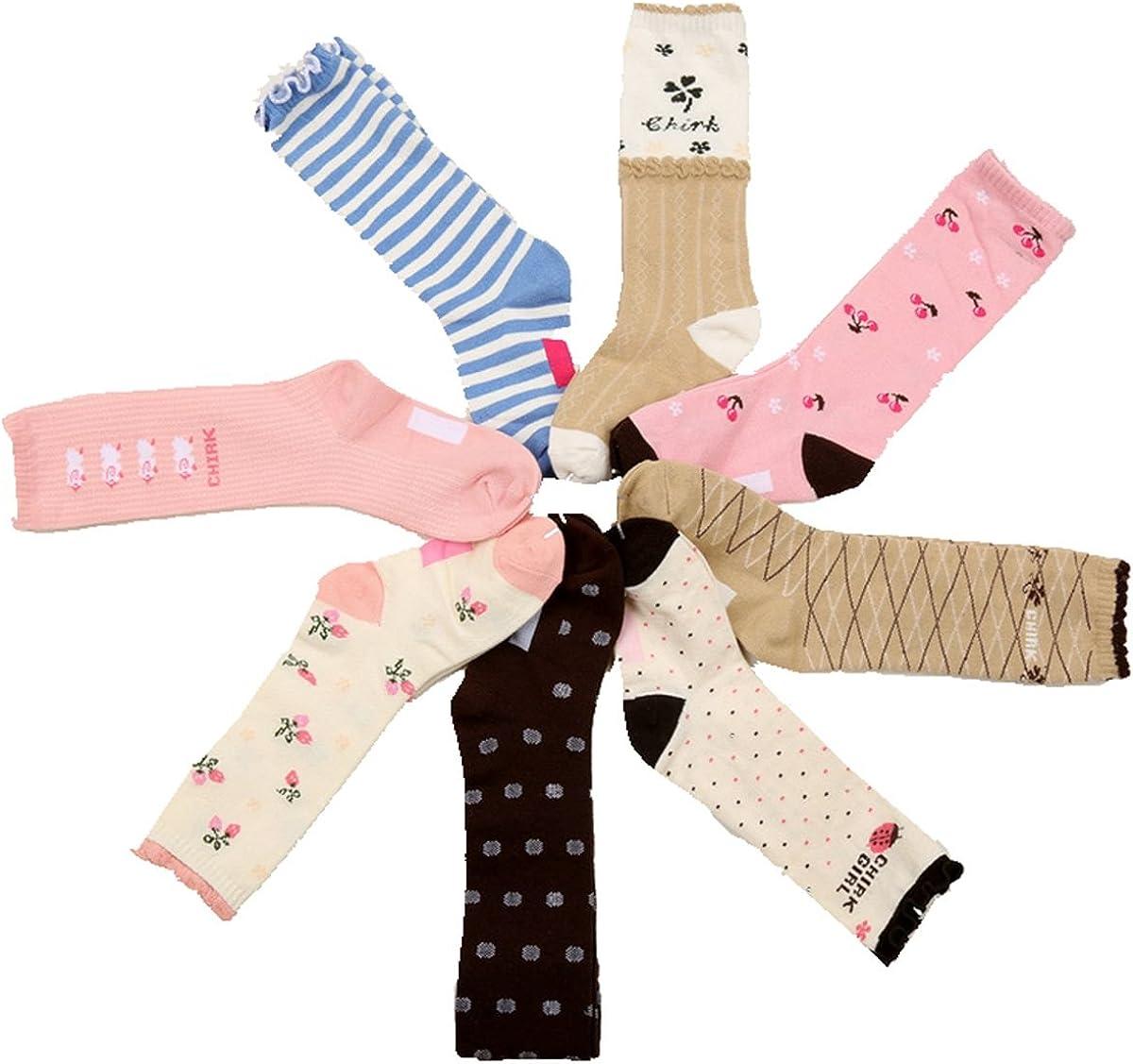 Girls Knee High Tube Socks Cartoon Cherry Comfort Cotton Stockings Socks 8 Pair Pack