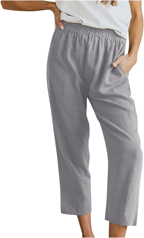 BEUU Womens Fall Cotton Linen Pants Casual Wide Leg Pants for Women Elastic Waist Flat Front Beach Loose Fit Trousers