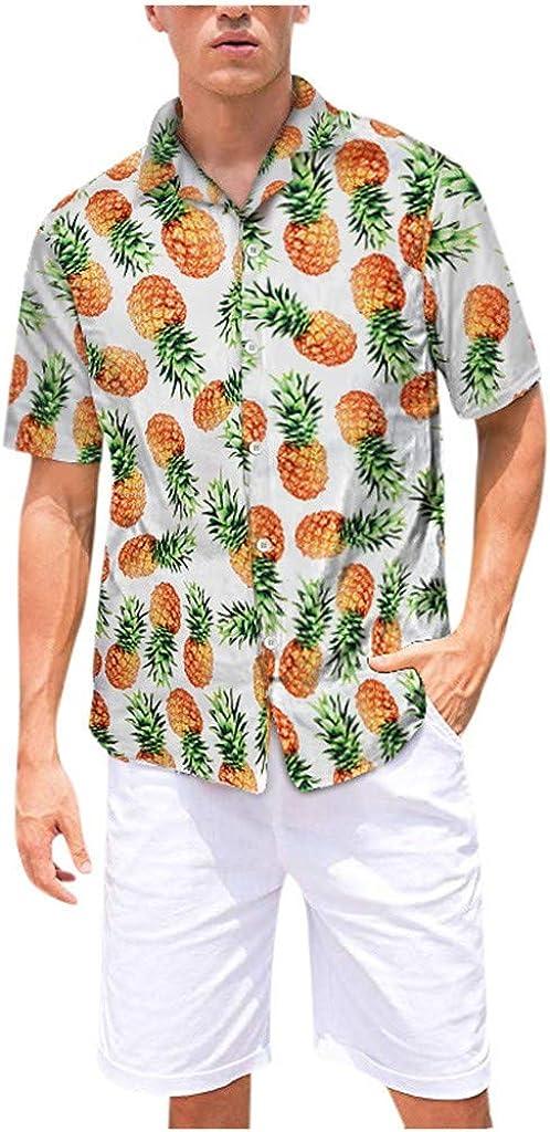 SERYU Mens Printed Hawaiian Loose Beachwear Short Sleeve Casual Buttons Shirt