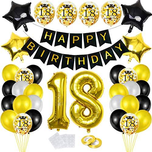 18 Globos Cumpleaños Decoracione Oro Negro, Happy Birthday cumpleaños,Decoración Globos de Látex Dorado Papel de Oro Apto para Hombres y Mujeres Adultos Decoración de Fiesta