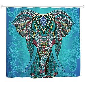 Goodbath Elephant Shower Curtain, Indian Bohemian Boho Waterproof Polyester Fabric Bathroom Bath Curtains, 72 x 72 Inch, Blue