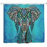 goodbath Duschvorhang, Elefant, indisches Mandala, Boho, Hippie, wasserdicht, schimmelresistenter Stoff, Standardgröße 182,9 x 182,9 cm, Blau