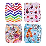 Welandtech Reuseable Washable Baby Pocket Cloth Diaper Covers with Inserts (Girl Color 4P01)
