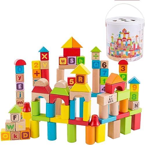 Deluxe Holzbausteine  et mit Fasscontainer - ABC Alphabet Buchstaben, Z en & Bausteinset Entwicklungsspielzeug für 2-10 j ige, Kinder (100 Bausteine)