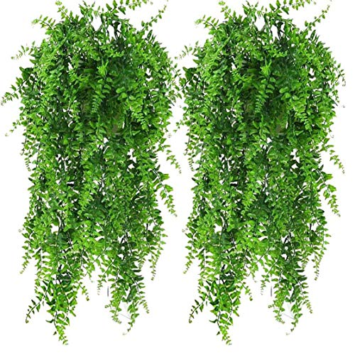 Bird Fiy 2pcs Boston Fern Bush Artificial Fake Vine Plants Decor Plastic Greenery Artificial Plants Vines Hanging Plant