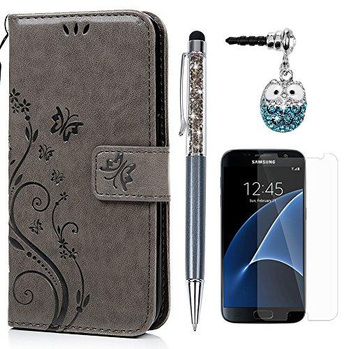 S7 Hülle Hülle KASOS Handyhülle Brieftasche Book Type PU Leder Tasche Gemalt Magnetverschluss Ledertasche Cover,Blume-Schmetterling Gray + Stöpsel + Stylus + Schutzfolie für Samsung Galaxy S7