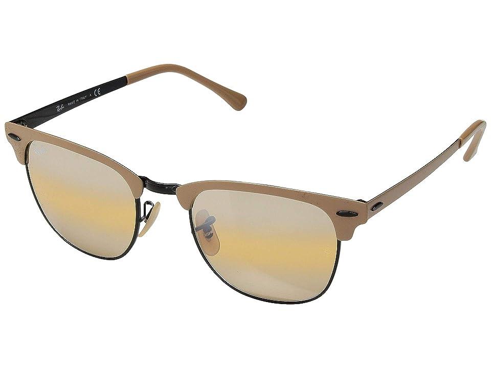 Ray-Ban Metal Clubmaster RB3716 51mm (Black/Top Matte Beige/Yellow Bi-Mirror Grey) Fashion Sunglasses