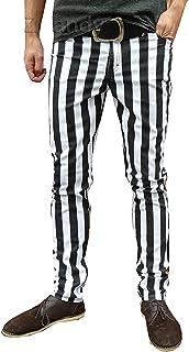Tubolare Pantaloni Aderenti Jeans A Righe Mod Indie Bianco Nero