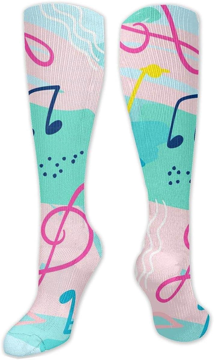 Music Pattern Knee High Socks Leg Warmer Dresses Long Boot Stockings For Womens Cosplay Daily Wear