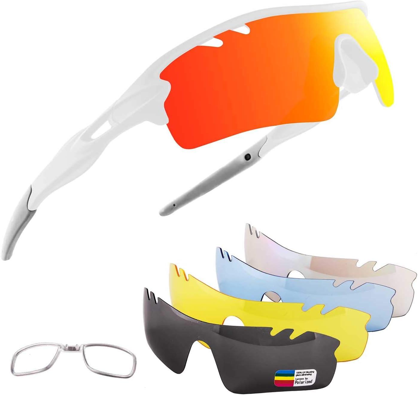 OULIQI Gafas De Sol Polarizadas para Ciclismo con 5 Lentes Intercambiables UV400 Y Montura De, Gafas para MTB Bicicleta Montaña 100% De Protección UV
