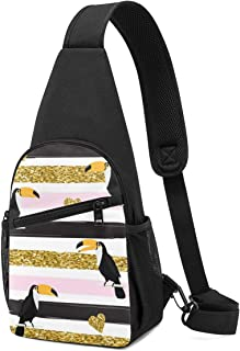 Bolso bandolera con diseño de corazones y tucanes, color dorado, con patrón sin costuras, ligero, mochila para el pecho, b...
