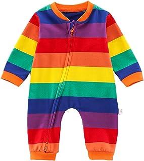 الوليد مخطط قوس قزح رومبير سستة طويلة الأكمام القطن السروال القصير ملابس الرضع بذلة 0-12 متر (Color : A, Size : 12-18M)
