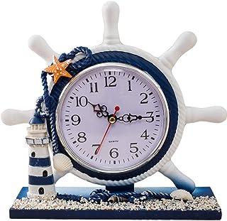 S.W.H Medelhavet hjul roder bord klocka modern strand tema rock vita och blå klockor för vardagsrumsdekor Only Lighthouse
