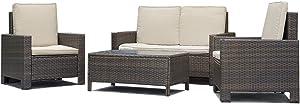 Compatible with FDW Patio Sofa Set 4 Pcs Outdoor Furniture Set PE Rattan Wicker Cushion Outdoor Gard