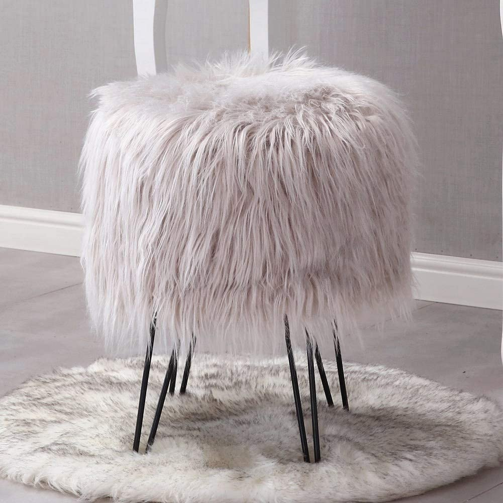 Mxfurhawa Modern Faux Fur Vanity Stool Ottoman Decorative Furniture Foot Rest(Grey) Bedroom and Kids Room Chairs Side Table Seat for Living Room Anti Scratch Golden Metal Legs