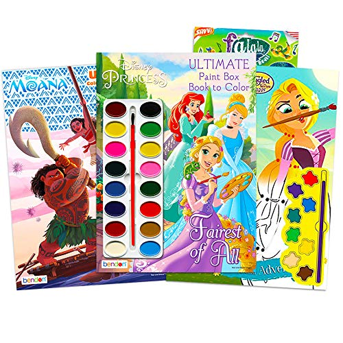 Paint with Water Super Set for Girls Kids Toddlers -- Bundle Includes 3 Deluxe Paint Books with Paint Brushes (Featuring Disney Princess, Tangled and Moana)