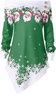 comprar comparacion ZODOF Ropa de Navidad Mujeres Feliz Navidad Tallas Grandes Impresas Remiendo del cordón asimétrica Tops más el tamaño del ...
