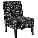 Cortesi Home Chicco Fabric Armless Accent Chair, Black Script