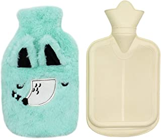Classic Rubber Transparent Hot Water Bottle with Cute Animal Fox Pattern Cartoon Plush Cover