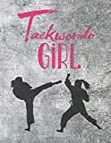 Taekwondo Girl: Pink & Gray Notebook, Wide Ruled Lined Pages (Composition Book, Journal) (8.5 x 11 Large) - Two Hoots Book Co