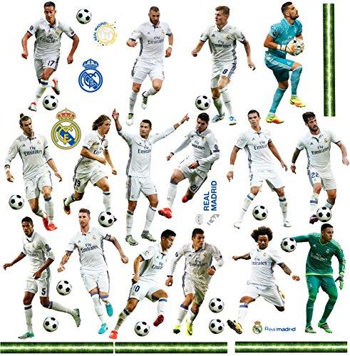 39 TLG. Set _ XL Wandtattoo / Sticker _  Fußball Mannschaft - Real Madrid - Club de Futbol / FCM - Fußballverein  - zum Spielen & als Deko - Wandsticker - A..
