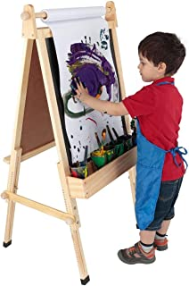Fundamentals Kids Art Easel 3 in 1 Multipurpose Wooden Art Easel, Chalk Board & Dry Erase White Board & Paper Roll with Paper Clamp Adjustable Height 36.5