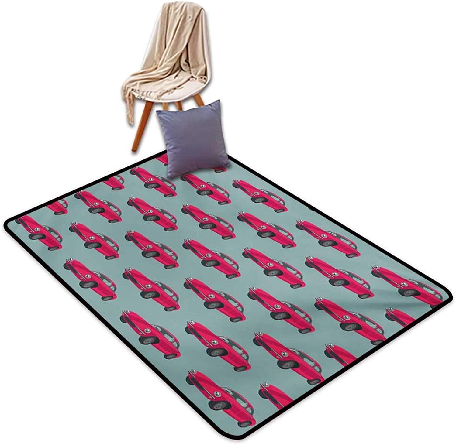 Cars Indoor Super Absorbs Mud Doormat Vintage Red Vehicles Retro Sports Cars from Sixties Fifties Driving Speeding Water Absorption, Anti-Skid and Oil Proof 48  Wx59 L Pink Slate bluee