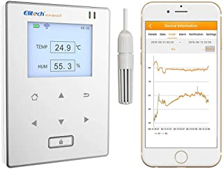 Elitech RCW-800 wifi Temperature and Humidity Data Logger Wirelesss Remote Monitor. Free 24/7 Monitoring, Alerts & Historical Data. Free iPhone/Android Apps, Monitor from Anywhere, Anytime!