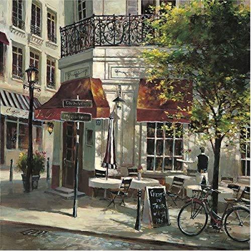 Rahmen-Kunst Keilrahmen-Bild – Brent Heighton: The Crepe House Leinwandbild Strassen-Cafe Bistro Idylle Nostalgie Paris