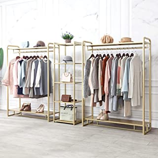 Modern Metal Clothing Rack Free Standing Clothes Racks with Shelf and Shoe Rack Perfect for Clothing Store Display
