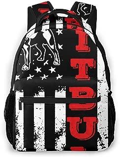 Patriotic Pitbull Dog Mom American USA Flag Rucksack, Large Capacity Bookbag Camping Outdoor Backpack, School Daypack Backpack Casual Daypack Climbing Shoulder Bag Business Computer Bag