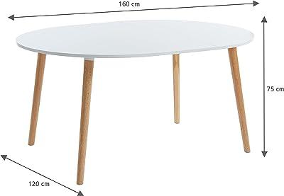 BAÏTA Table de séjour, laqué Blanc, L120-160cm