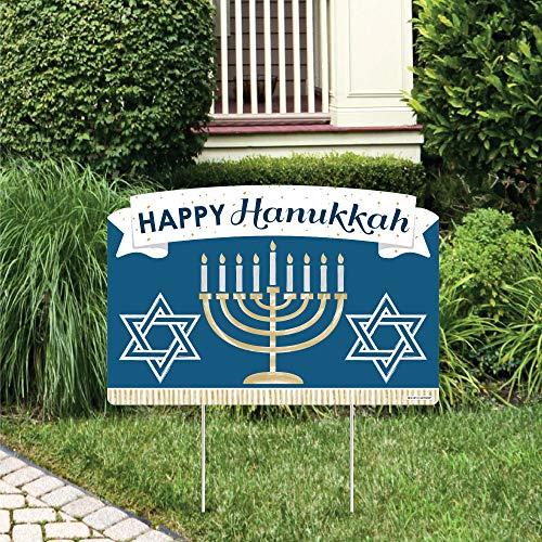 Big Dot of Happiness Happy Hanukkah - Chanukah Holiday Party Yard Sign Lawn Decorations - Happy Hanukkah Party Yardy Sign