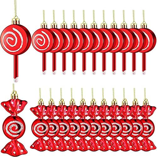 TongN Juego de Adornos de Christmas Candy Lollipop, 24 Piezas de paletas Colgantes de la Navidad, Cuerda Fotos de Decoración de Navidad, 2 Estilos
