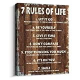 Pigort Motivational Quotes Wall Decor 7 Rules of Life Inspirational Motto Canvas Print Wall Art (12x15 inch, Brown)