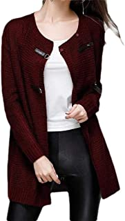 Howely Womens Fitted Trendy Mid Long Plus Size Knit Jacket Cardigan
