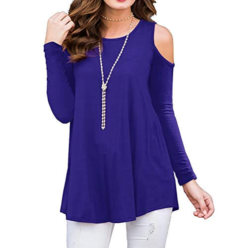 020888f6848301 PCEAIIH Women s Long Sleeve Casual Cold Shoulder Tunic Tops Loose Blouse  Shirts