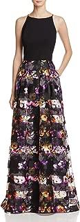 Women's Sleevless High Neck Stretch Halter Ballgown with Printed Organza Floral Stripe Skirt