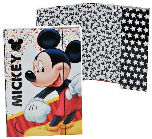 Ordner A4 - Mickey Mouse - für Hefte, Zettel und Mappen - Gummizugmappe Mappe Ordnermappe / Ordnungsmappe Hefter Heftbox A 4 Kinder Mädchen Jungen