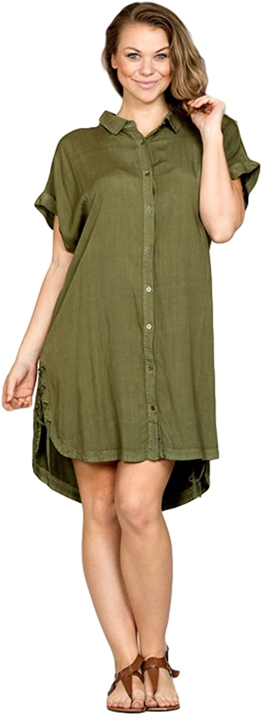 En Crème Women's Short Sleeve HighLow Midi Dress Shirt (Small3X)