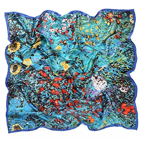 Prettystern prettystern 100 Cm XL Crepe Satin 100% Seide Handroulier Seiden-Malerei Tuch - Gustav Klimt - Bauerngarten P328