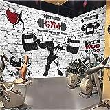BIZO Wandaufkleber Raum Wandbild Sport Gym Gewicht Malerei Sofa Tv Hintergrund Wand, 400 * 280 cm...