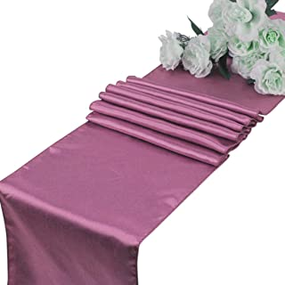VDS - 10 PCS 12 x 108 inch Satin Table Runner for Wedding Banquet Décor Runners Charmeuse Silk Table Runner - Dusty Pink