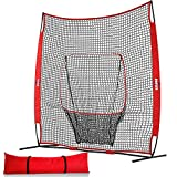 Kapler Baseball Softball Practice Net for Pitching Hitting Batting Training, 8X8FT Baseball Softball Training Pitching Target with A Carry Bag for Any Level Player Outdoor Indoor Uses.