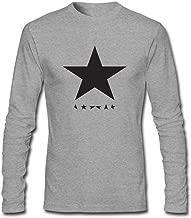 Dotion Men's Blackstar David Bowie Logo Long Sleeve T Shirt Grey