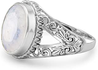 Rainbow Moonstone Ring with Scroll Design Split Band Antiqued Sterling Silver