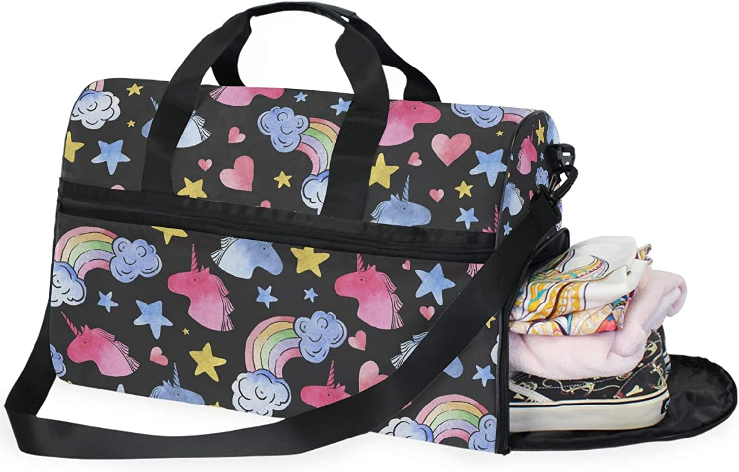 Unicorns Donuts Rainbow Sports Gym Bag with shoes Compartment Travel Duffel Bag for Men and Women